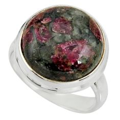 14.59cts natural pink eudialyte 925 silver solitaire ring jewelry size 8 r26483