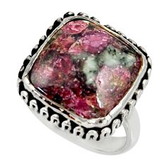 13.26cts natural pink eudialyte 925 silver solitaire ring jewelry size 8 r28096