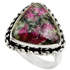 12.34cts natural pink eudialyte 925 silver solitaire ring jewelry size 8 r28098