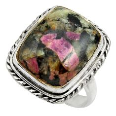 14.43cts natural pink eudialyte 925 silver solitaire ring jewelry size 8 r28675