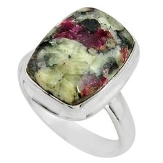 10.33cts natural pink eudialyte 925 silver solitaire ring jewelry size 9 r26491