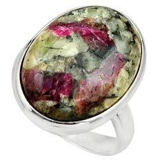 16.92cts natural pink eudialyte 925 silver solitaire ring size 8.5 r26475