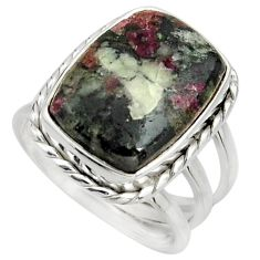 11.22cts natural pink eudialyte 925 silver solitaire ring size 7.5 r26478