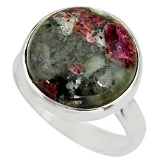 14.26cts natural pink eudialyte 925 silver solitaire ring size 8.5 r26486