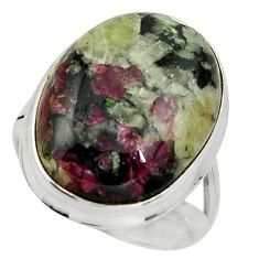 17.38cts natural pink eudialyte 925 silver solitaire ring size 7.5 r26487