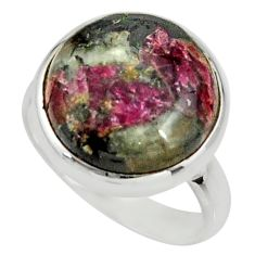 14.72cts natural pink eudialyte 925 silver solitaire ring size 8.5 r26489