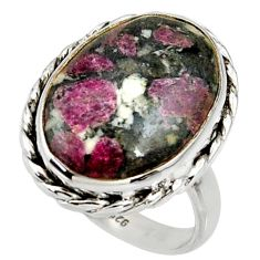 14.41cts natural pink eudialyte 925 silver solitaire ring size 8.5 r28081