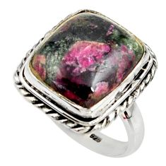 10.02cts natural pink eudialyte 925 silver solitaire ring size 7.5 r28087