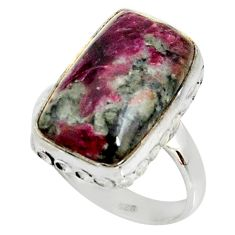 10.02cts natural pink eudialyte 925 silver solitaire ring size 8.5 r28088