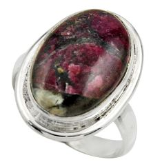 11.93cts natural pink eudialyte 925 silver solitaire ring size 7.5 r28661