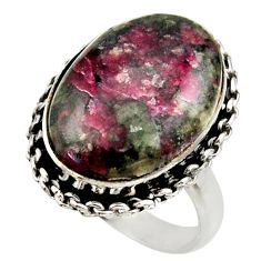 14.26cts natural pink eudialyte 925 silver solitaire ring size 8.5 r28781