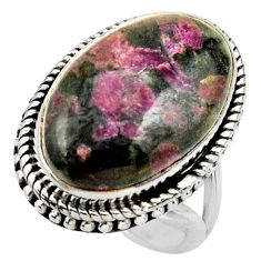 16.93cts natural pink eudialyte 925 silver solitaire ring size 6.5 r28782