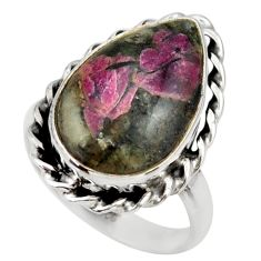 12.07cts natural pink eudialyte 925 silver solitaire ring size 8.5 r28796