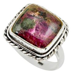 11.19cts natural pink eudialyte 925 silver solitaire ring size 7.5 r28798