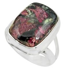 10.54cts natural pink eudialyte 925 sterling silver solitaire ring size 7 r26469