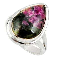 9.63cts natural pink eudialyte 925 sterling silver solitaire ring size 7 r28090