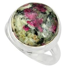 13.71cts natural pink eudialyte 925 sterling silver solitaire ring size 8 r26461