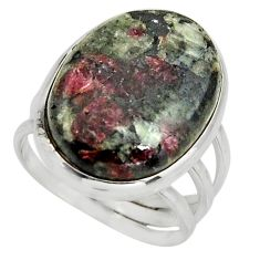 16.93cts natural pink eudialyte 925 sterling silver solitaire ring size 8 r26462