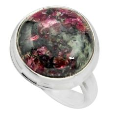 14.72cts natural pink eudialyte 925 sterling silver solitaire ring size 8 r26466