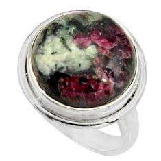 15.05cts natural pink eudialyte 925 sterling silver solitaire ring size 8 r26467