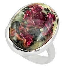 16.46cts natural pink eudialyte 925 sterling silver solitaire ring size 8 r26470