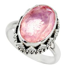 6.48cts natural pink faceted rose quartz 925 sterling silver ring size 8 r42699