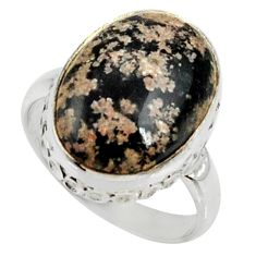 10.78cts natural pink firework obsidian 925 silver solitaire ring size 7 r28142