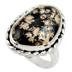 12.81cts natural pink firework obsidian 925 silver solitaire ring size 7 r28153