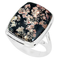 13.60cts natural pink firework obsidian 925 silver solitaire ring size 8 r95610