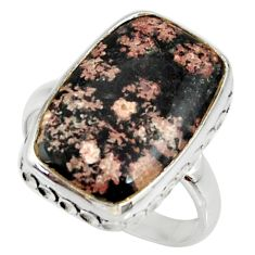 12.43cts natural pink firework obsidian 925 silver solitaire ring size 9 r28143