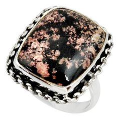 15.97cts natural pink firework obsidian 925 silver solitaire ring size 9 r28156