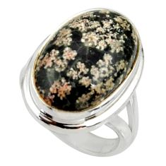 14.12cts natural pink firework obsidian silver solitaire ring size 6.5 r28154