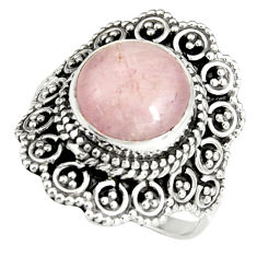 5.79cts natural pink kunzite 925 sterling silver solitaire ring size 7.5 r19466