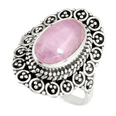 4.40cts natural pink kunzite 925 sterling silver solitaire ring size 7.5 r19469