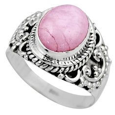 4.22cts natural pink kunzite 925 sterling silver solitaire ring size 6.5 r53521
