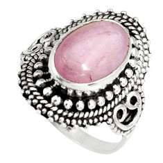 4.70cts natural pink kunzite 925 sterling silver solitaire ring size 7 r19473