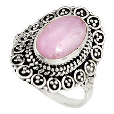 4.40cts natural pink kunzite 925 sterling silver solitaire ring size 8 r19467