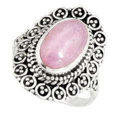 4.33cts natural pink kunzite 925 sterling silver solitaire ring size 8 r19470