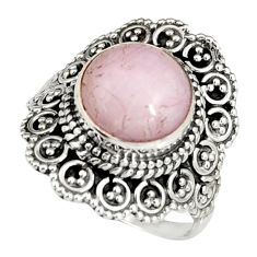 5.76cts natural pink kunzite 925 sterling silver solitaire ring size 8 r19478