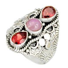 4.32cts natural pink kunzite garnet 925 sterling silver ring size 8.5 r19171
