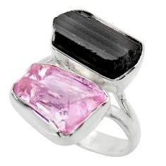 13.77cts natural pink kunzite rough 925 silver ring jewelry size 8 r29656