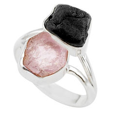 12.07cts natural pink kunzite raw 925 silver ring jewelry size 8 t21011