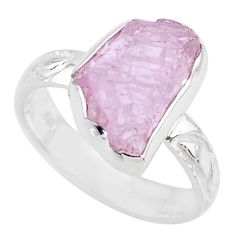 7.33cts natural pink kunzite rough 925 silver solitaire ring size 8 r72022