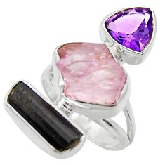 14.72cts natural pink kunzite rough amethyst 925 silver ring size 6 r29703