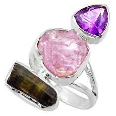 16.15cts natural pink kunzite rough amethyst 925 silver ring size 7 r29701