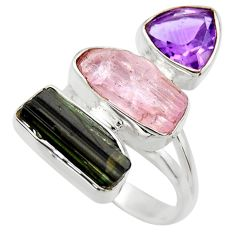 14.26cts natural pink kunzite rough amethyst 925 silver ring size 8 r29707