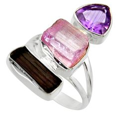 14.28cts natural pink kunzite rough amethyst 925 silver ring size 8 r29715