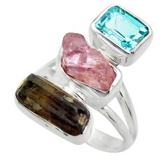 12.83cts natural pink kunzite rough blue topaz 925 silver ring size 6 r29712