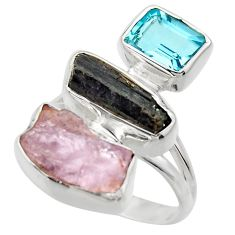 14.28cts natural pink kunzite rough blue topaz 925 silver ring size 7 r29710