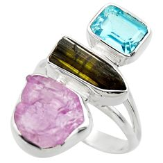 15.16cts natural pink kunzite rough blue topaz 925 silver ring size 8 r29706